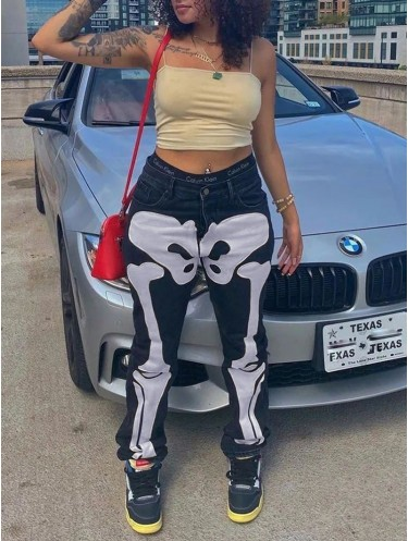 Jurllyshe Bone Applique Embroidered Sexy Low Waist Contrast Jeans Denim Pants