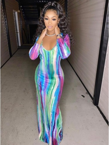 Jurllyshe Colorful Stripe Print Long Sleeve Deep V-Neck Plunging Maxi Dress