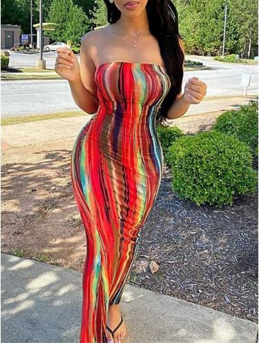 Jurllyshe Colorful Tie Dye Printed Work Of Art Sleeveless Maxi Slim Tube Bodycon Dress