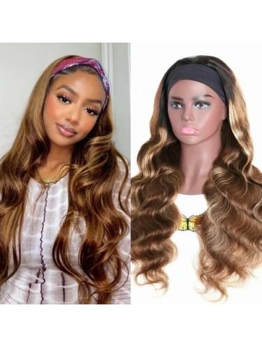 Jurllyshe Headband Wig Glueless Honey Blonde Ombre Color Body Wave Human Hair Wigs