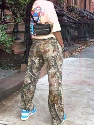 Jurllyshe Leaf Printed Pocket Loose Fashion Casual Pants