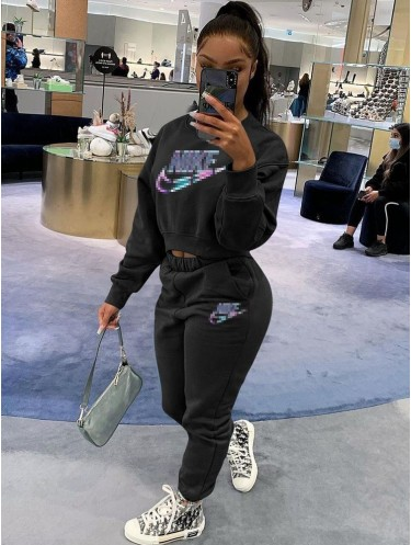 Jurllyshe Letter Embroidery Long Sleeve Sweatshirt With Sports Elastic Waist Pants Set