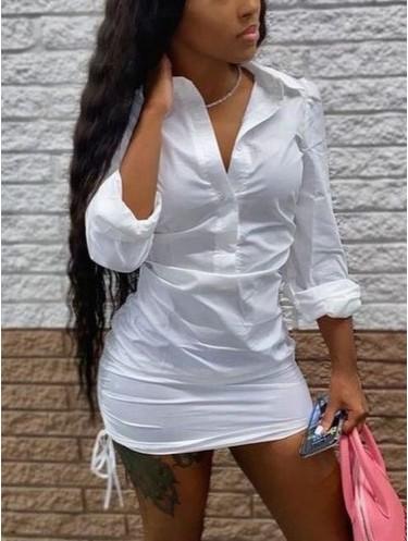 Jurllyshe Long Sleeve Lapel Button Drawstring Solid Color Shirt Bodycon Dress