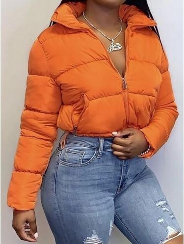 Jurllyshe Long Sleeve Zipper Cotton Warm Hem Drawstring Winter Coat