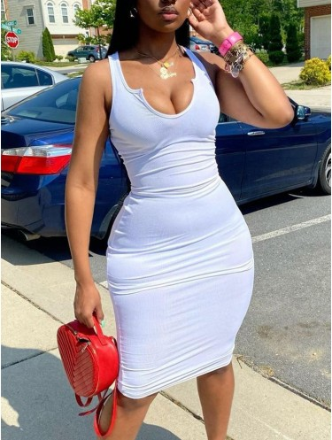 Jurllyshe Notched Neck Solid Color Sleeveless Sexy Bodycon Dress
