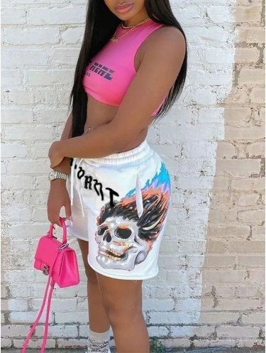 Jurllyshe Skull Letter Print Street Punk Hip Hop Sweatpant Shorts