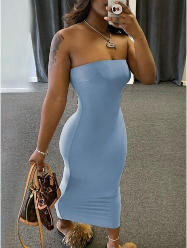 Jurllyshe Solid Color Tube High Elastic Sexy Long Dress
