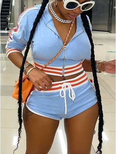 Jurllyshe Striped Zipper Long Sleeve Hoodie With Drawstring Casual Shorts Set
