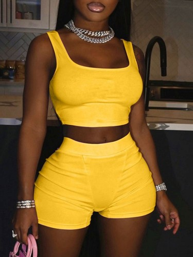 Jurllyshe Sports Tank Crop Top With Solid Color Shorts Set