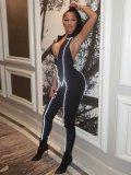 JurllyShe Zipper Front Contrast Line Reflective Jumpsuits