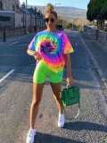 Jurllyshe Fashion Casual Colorful Printing Round Neck Long Suit With Solid Shorts Set
