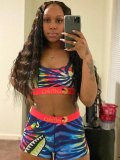 Jurllyshe Fashion Print Sports Crop Top With Shorts Set
