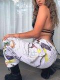 Jurllyshe Fashion Printed Elastic Pants