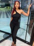 Jurllyshe Slant Shoulder Asymmetric Strap Jumpsuit