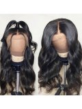 Jurllyshe Fake Scalp Wigs 13x6 inch Body Wave Lace Front Wigs 150% Density Natural Black Hair Wig