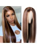 Jurllyshe 150% Density Blonde Highlight Piano Color Lace Part Wig Human Hair Long Straight Hair