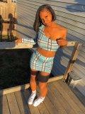 JurllyShe One Sleeve Plaid Crop Tee With Skirt Set