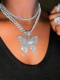 Diamond Butterfly Luxury Jewelry Gifts Choker Necklace Pendant-Sliver