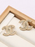 Fashion Classic Simple Double Letter C Diamond Inlaid Earrings