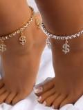 Fashion Personality Dollar Money Symbol Diamond Ankle Chain