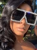 Fashionable Square Large Frame Diamond Inlay Sunglasses