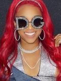 Imitation Diamond Sequin Letter Irregular Personality Fashionable Sunglasses