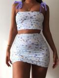 Jurllyshe Butterfly Print Suspender Vest Crop Top With Skirt Set