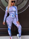 Jurllyshe Digital Printing Long Sleeve Fashion Slim Top With Elastic Drawstring Pants Set