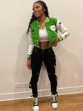 Jurllyshe Four Leaf Clover Embroidered Color Contrast Fashion Street Baseball Varsity Jacket