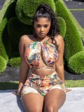 Jurllyshe Halter Leaves Printed Hollow Out Bandage Sexy Swimwear Rompers