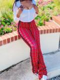 Jurllyshe High Waist Fashion Slim Plaid Stacked Pants
