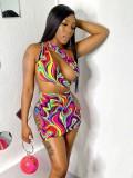 Jurllyshe Hollow Out Colorful Print Slant Shoulder Beach Swimwear Dress