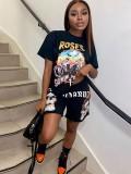 Jurllyshe Letter Motorcycle Print Shirt With Skull Punk Hip Hop Sportswear Shorts Set