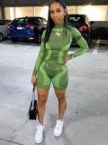 Jurllyshe Long Sleeve Turtleneck Contrast Block Shirt With Sports Fitness Shorts Set