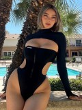 Jurllyshe Long Sleeves Top With Cut Off Bodysuit Two Pieces Swimsuit
