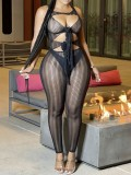 Jurllyshe Mesh See Through Hollow Out Lace Up Swim Jumpsuit