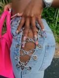 Jurllyshe Metal Chain Drawstring High Waisted Zipper Button Jeans