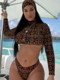Jurllyshe Plaid Printed Zipper Crop Bikini Scarf 3 Pieces Swimsuit
