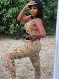 Jurllyshe Plaid Sleeveless Bra Top With Fashion Casual Elastic Pants Set