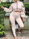 Jurllyshe Pleated Long Sleeve Thickened Zipper Top With Leisure Sports Pants Set