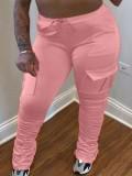 Jurllyshe Plus Size Cargo Pocket Flared Pleated Stacked Pants