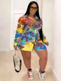 Jurllyshe Plus Size Color Print Bright Fashion Cool Shirt Dress