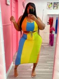 Jurllyshe Plus Size Color Stripe Crop Top With Long Skirt Set