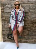 Jurllyshe Plus Size Contrast Color Classic Fashion Print Lapel Blouse Shirt