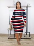 Jurllyshe Plus Size Contrast Color Stripe Letter Printed Off Shoulder Casual Dress