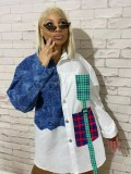 Jurllyshe Plus Size Denim Stitching Plaid Contrast Color Lapel Shirt Dress