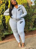 Jurllyshe Plus Size Fashion Hooded Letter Print Casual Sports Top With Pants Set