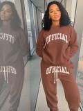 Jurllyshe Plus Size Fashion Letter Print Sweatshirt Top With Pants Set