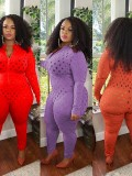 Jurllyshe Plus Size Fashion Sexy Slim Hollow Out Zipper Long Sleeve Jumpsuit