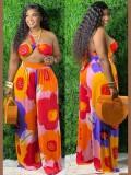 Jurllyshe Plus Size Halter Sexy Flower Print Bikini Top With Wide Leg Beach Pants Set